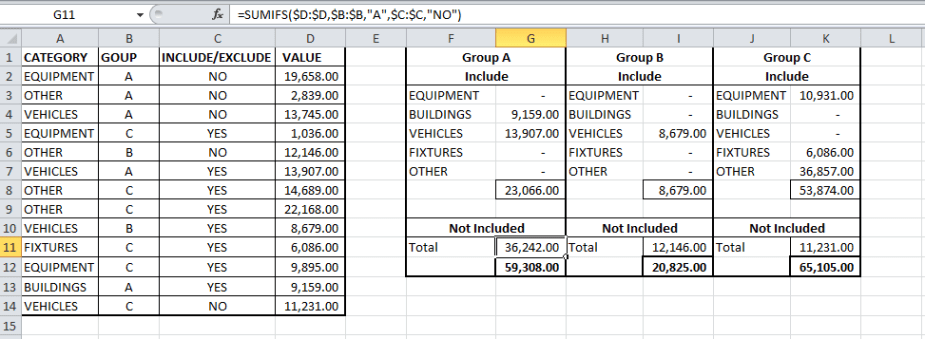 example of sumifs formula with multiple criteria