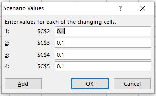 how to change cell values in scenario managers