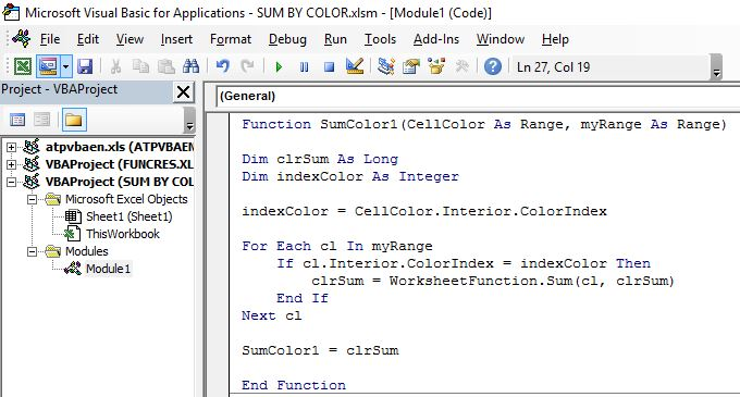function for first sum by color example
