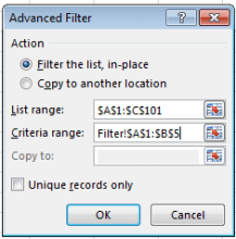 image showing advanced filter settings