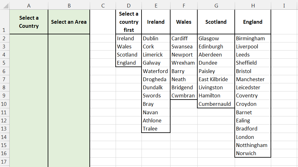 Example of set up for data validation list based on criteria