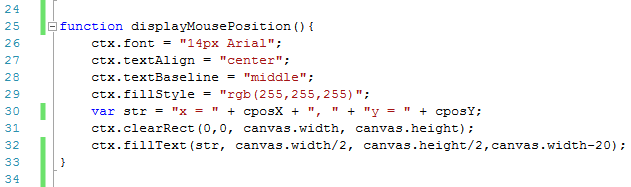 image showing canvas code for display mouse position function