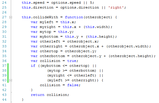 Image showing collision detection code in constructor function