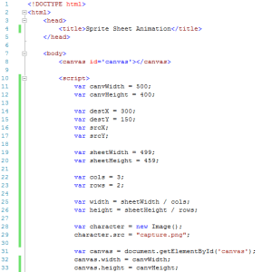image of code to set up sprite sheet animation variables