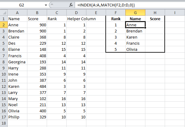 image of index match to get first second and third values names