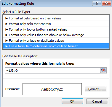 image of conditional formatting rule