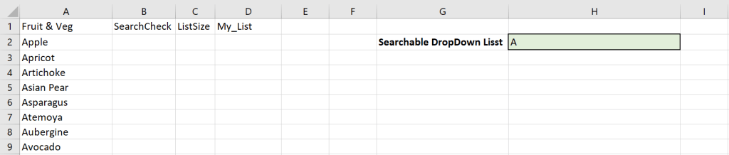 An image of how Excel will be used in this demo