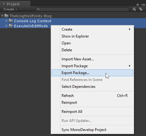 export package option