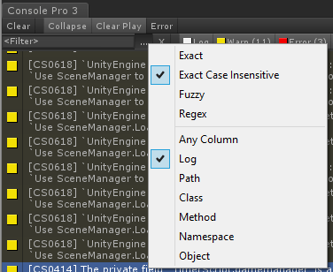 editor console pro quick filter