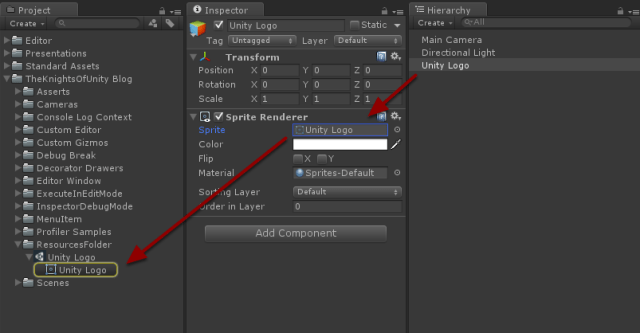 Unity Logo object contains Sprite Renderer object that references Unity Logo asset.