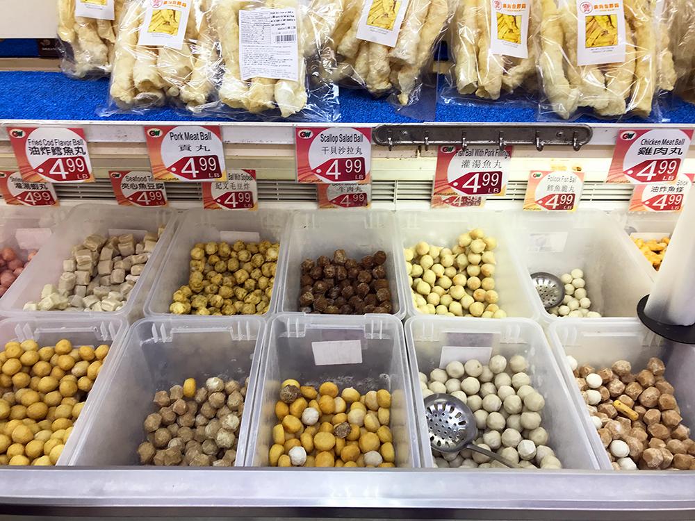 Meat and fish balls for Sichuan mala hot pot (mala huo guo)