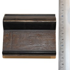 Wide wood frame with beveled outer edge and antique bronze edges. 70mm