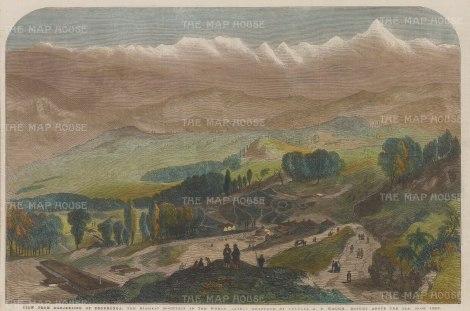 "Illustrated London News. Mount Everest. 1857. A hand coloured original antique wood engraving. 14"" x 9"". [INDp1320]"