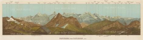 "Baedeker: Bernese Alps. c1900. An original antique chromolithograph. 19"" x 6"". [SWIp635]"