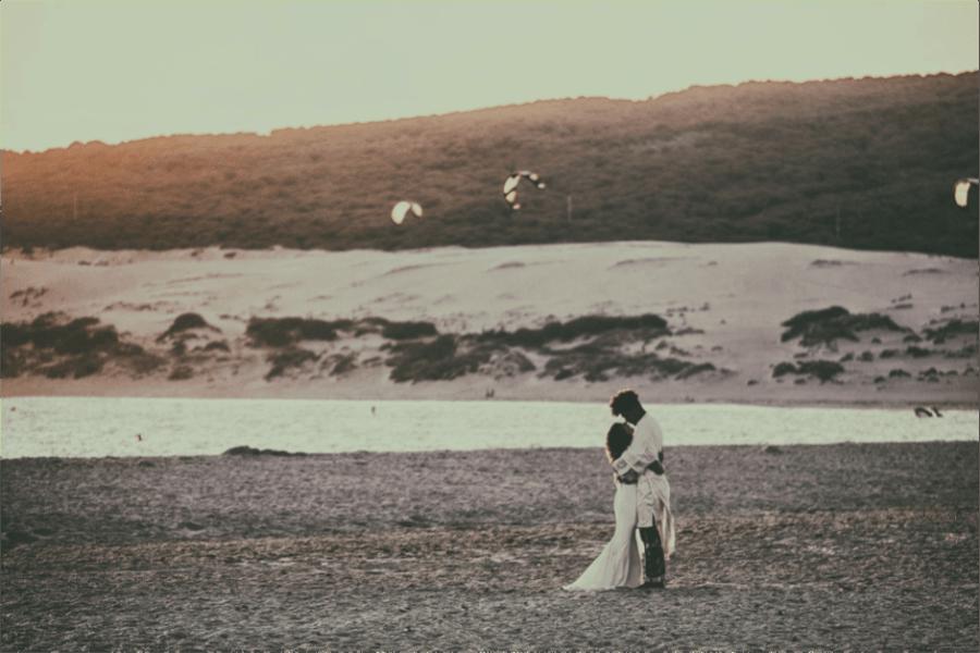 Mews' bride, Franny, wears 'Caplan' top and 'Pennington' skirt, by Rime Arodaky, at her beach wedding in Tarifa, Spain