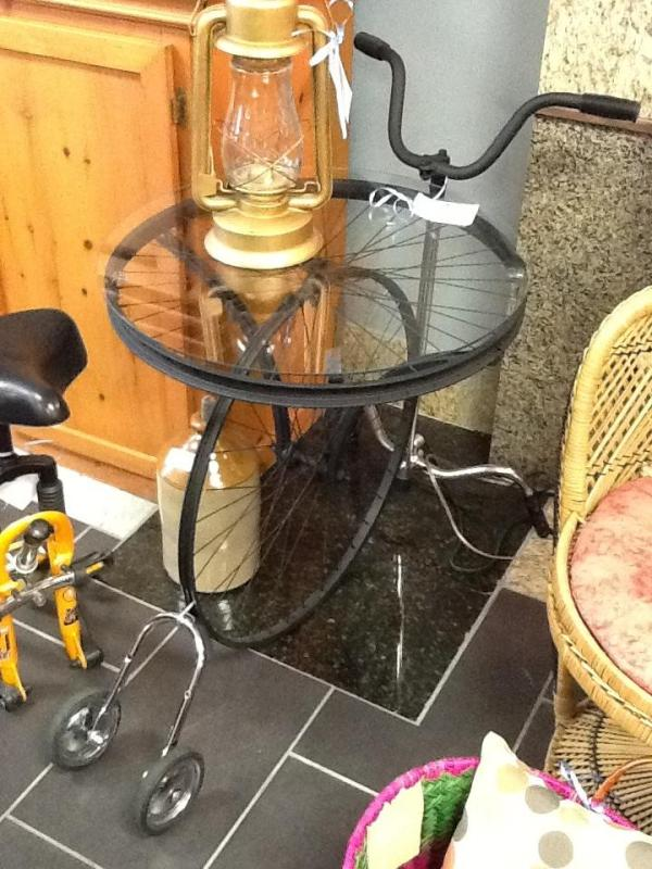Bicycle Table Cocktail Cart 24 x 27.5 high Made from a bicycle Location: Hamilton $281.82