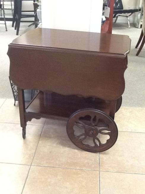 Tea Cart / Trolley 30 x 18 1/2 with 2 x 11 1/2″ drop leaves, 2 shelves Location: Aurora $382.88