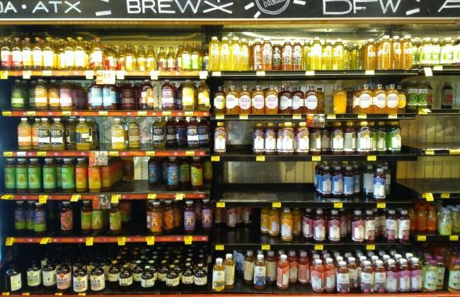 Kombucha on Shelf at Grocery Store