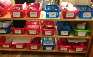These bins hold students' indoor shoes and any paper work they accumulate throughout the week.
