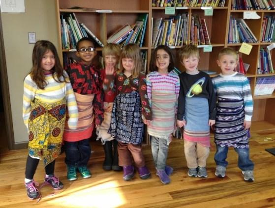The kids look great in their Kenyan garb!