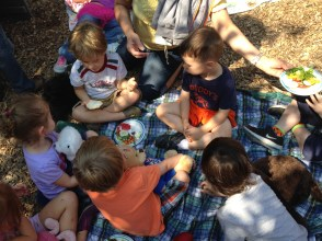 Picnickers at the Teddy Bear Picnic.
