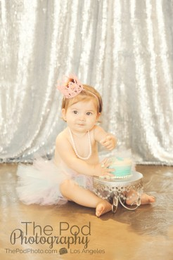 Best-First-Birthday-Cake-Smash-Photographer-Los-Angeles-SusieCakes-Teal-White-Silver-Pink-Sequins-Adorable-Baby-Girl