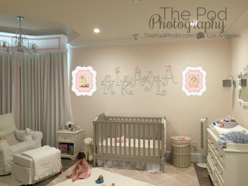Best-First-Birthday-Cake-Smash-Photography-Los-Angeles-Baby-Girl-Room-Nursery-Pink-Gray-Custom-Frames