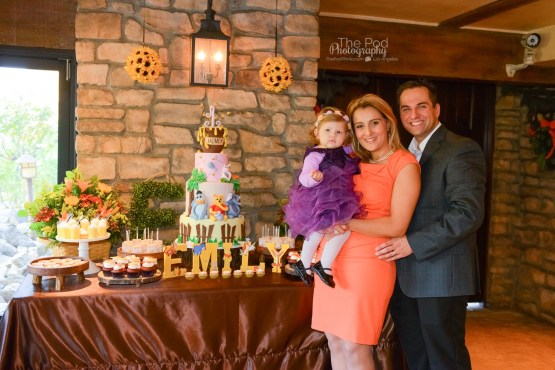 family-photo-cake-table-winnie-the-pooh-westlake-village-inn-first-birthday-party-photography-los-angeles-the-pod-photography