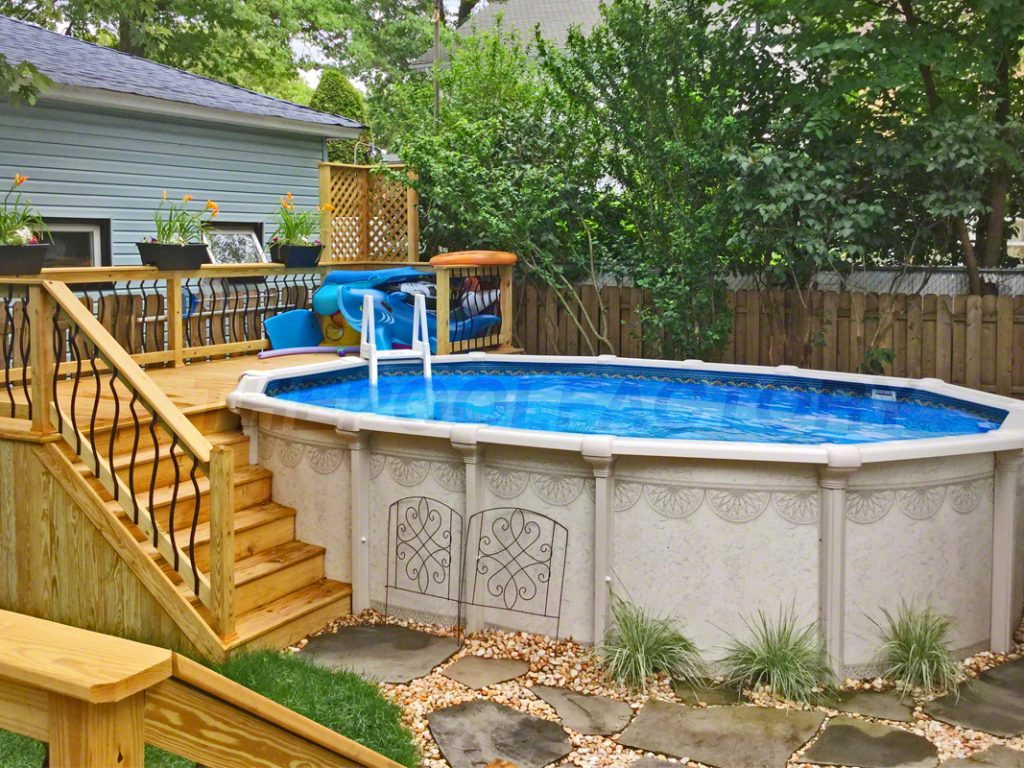 Pool Deck Ideas (Partial Deck) - The Pool Factory on Pool Deck Patio Ideas id=97418