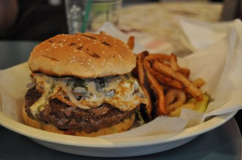 maxi burger with egg, pesto, spicy mayo, and all the veggies - Photo credit Francis C  - Yelp