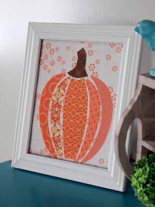 scrappy fabric pumpkin art