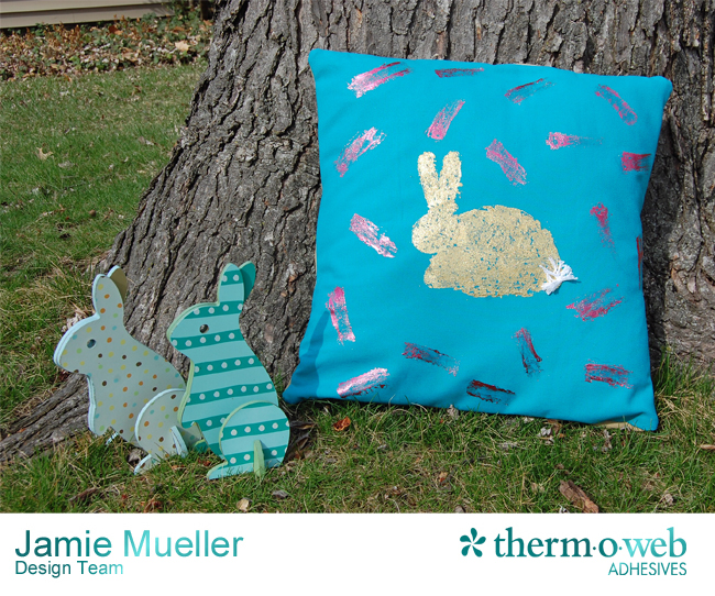 iCraft Deco Foil Gold Bunny Easter Pillow