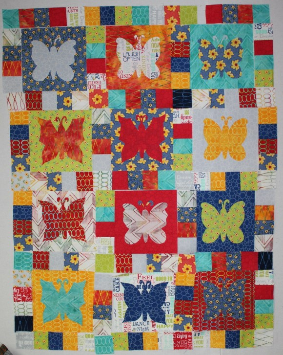 layout butterflies with sashing and cornerstones