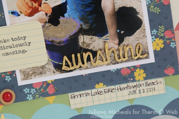 Summer Scrapbook Page by Juliana Michaels for Therm O Web featuring Deco Foil