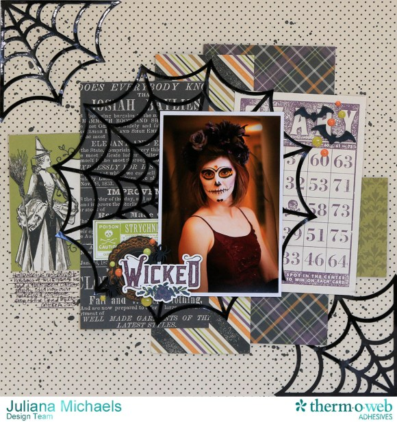 Wicked Halloween Scrapbook Page by Juliana Michaels featuring Therm O Web DecoFoil and Adhesives