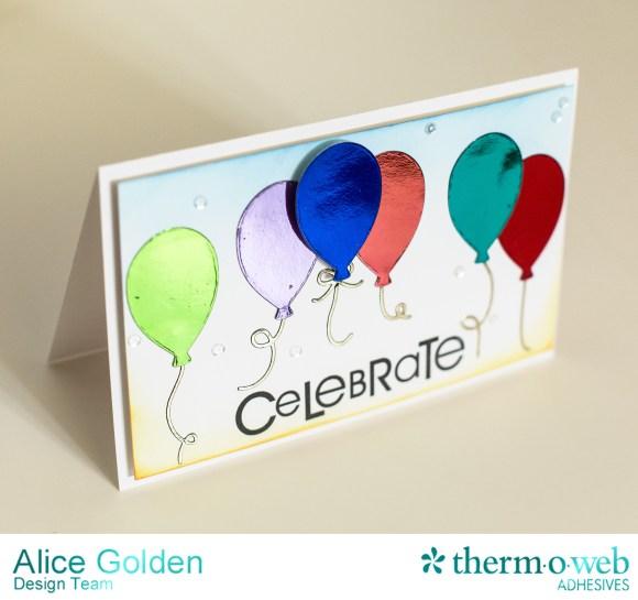 Alice Golden Therm O Web 2016 CHA Winter Foiled Balloon Birthday Card1