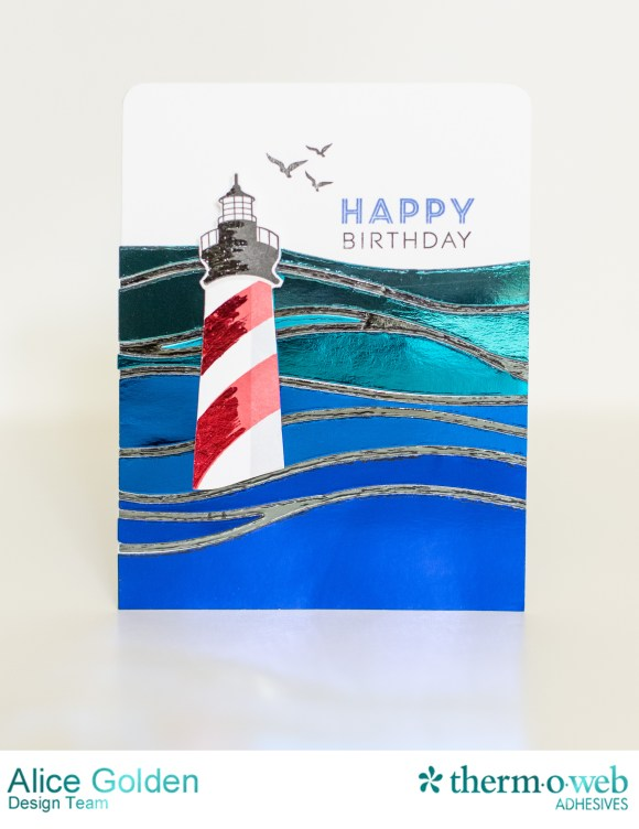 Alice Golden Therm O Web 2016 CHA Winter Foiled Lighthouse Birthday Card1