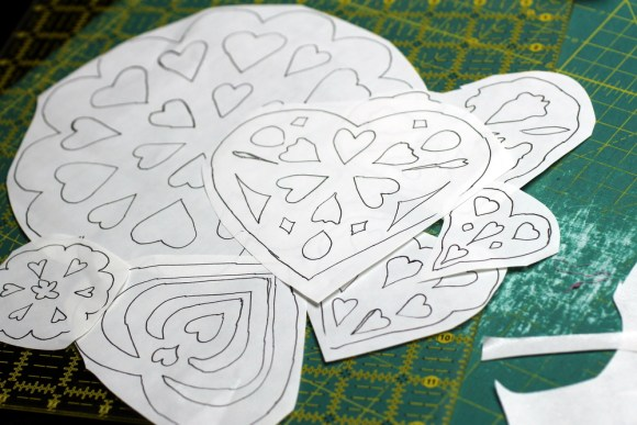 fusible hearts and snowflakes