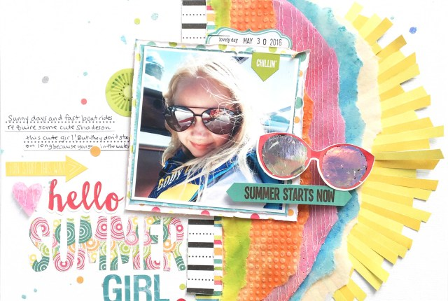 Summer Girl Mixed media layout by Audrey Yeager