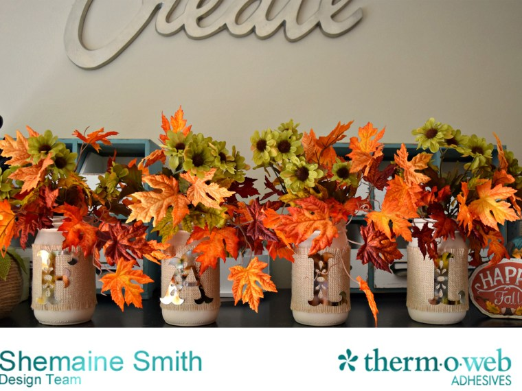 Fall Deco Foil Mason Jars by Shemaine Smith