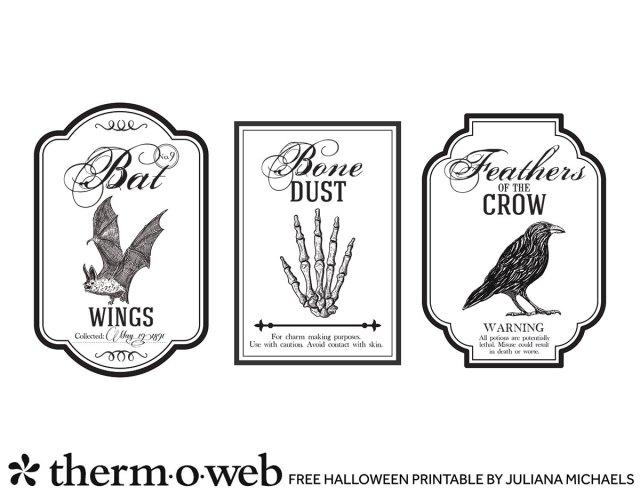 Halloween Bottle Labels Free Printable by Juliana Michaels