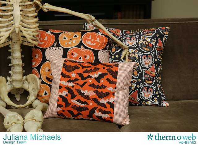 DIY Halloween Envelope Pillow Cover by Juliana Michaels featuring Blend Fabric and Therm O Web Heat N Bond