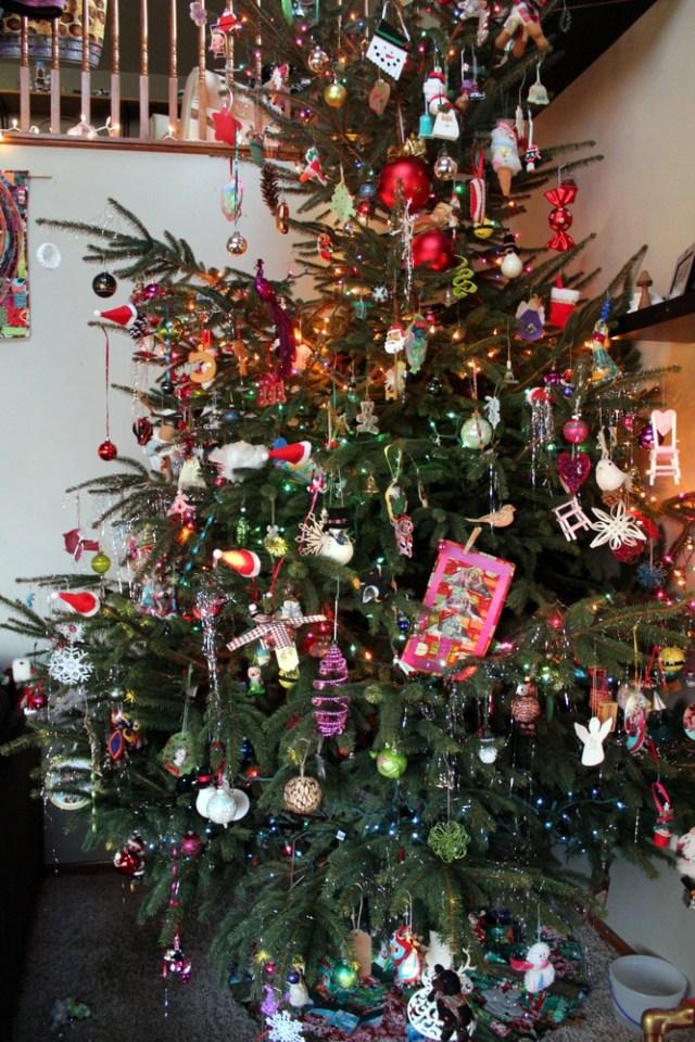 mini quilt on christmas tree