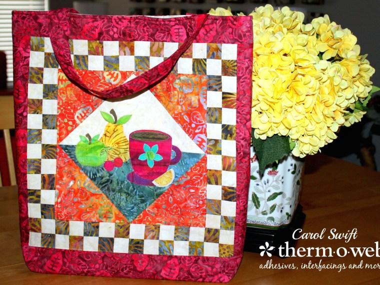 HeatnBond Applique Fruit Block Tote Bag by Carol Swift