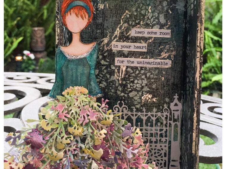 Garden Girl Mixed Media Shadowbox by Wendy Cuskey