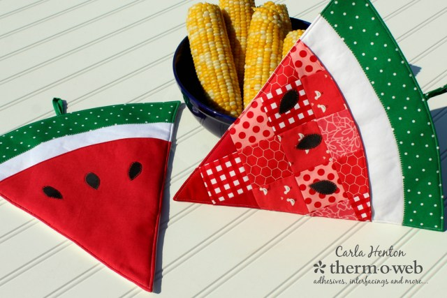 watermelon oven mitts hot pads potholders for thermoweb with fusible fleece by Carla Henton