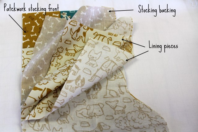 Laying out the layers for the pet stocking