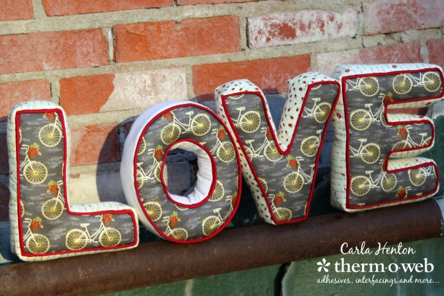 Rustic picture of Love Letter Pillows by Carla at Creatin' in the Sticks with HeatnBond and Sweet Bee Designs Fabic with watermark