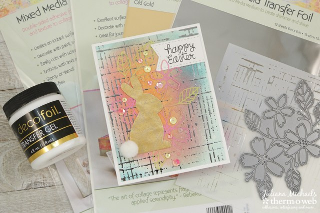 Mixed Media Easter Card by Juliana Michaels featuring Therm O Web Rebekah Meier Mixed Media Transfer Foil, Foam Sheets and Art Paper