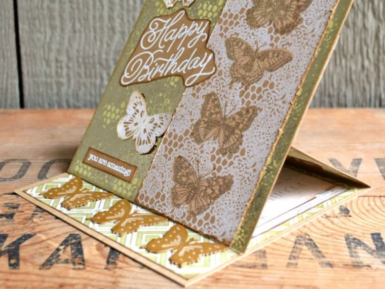 Butterfly Birthday Easel Card with Rebekah Meier Designs and Brutus Monroe